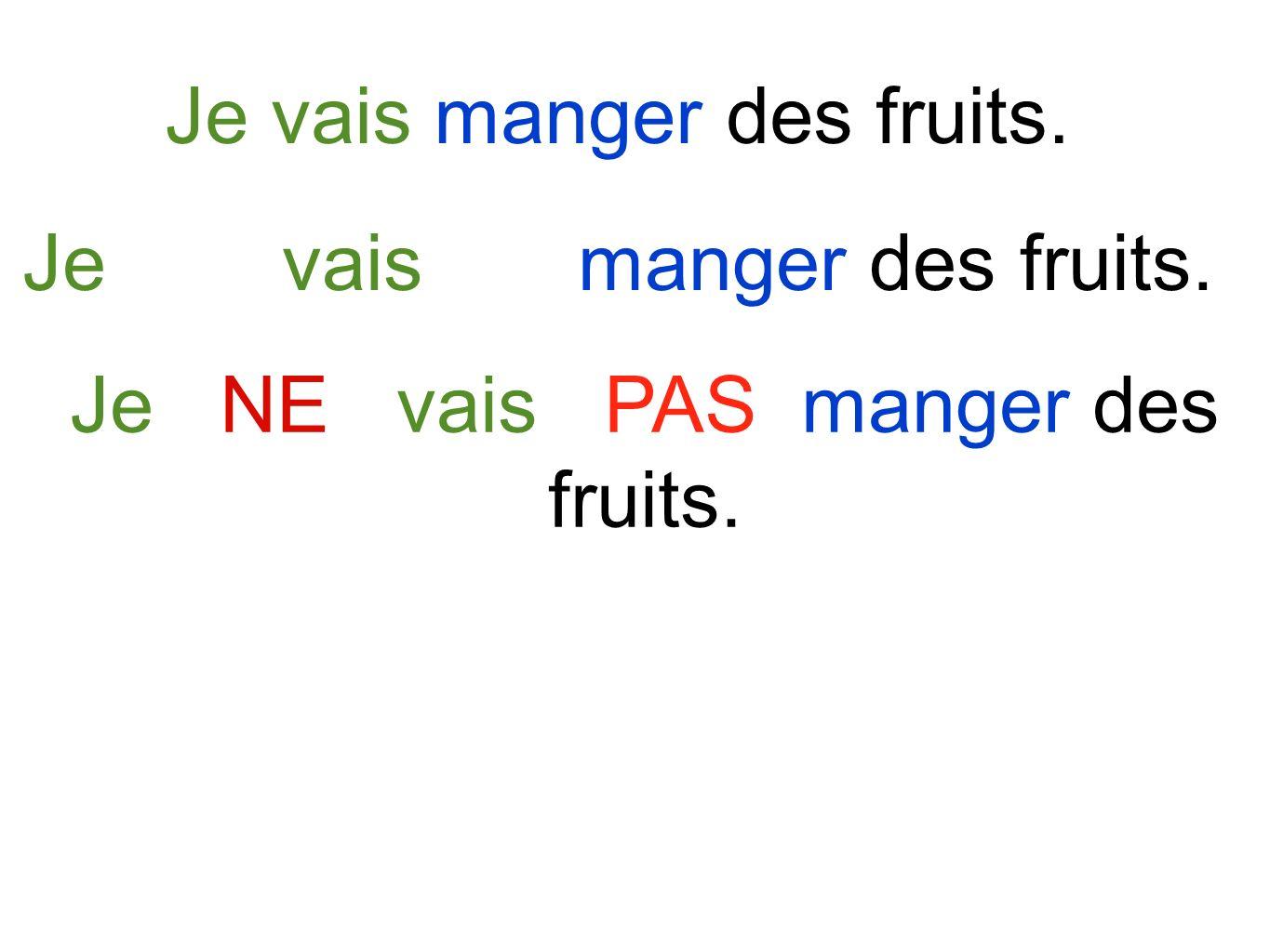 Je vais manger des fruits. Je NE vais PAS manger des fruits.