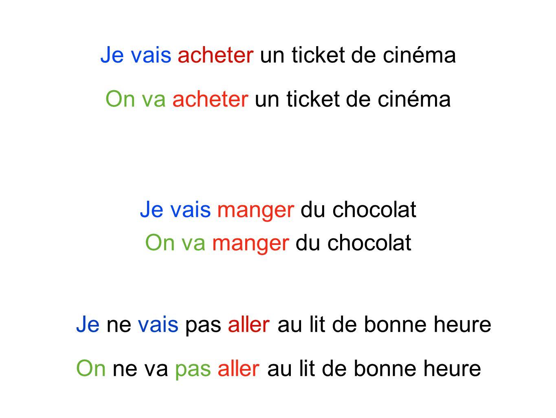 Je vais acheter un ticket de cinéma Je ne vais pas aller au lit de bonne heure On va acheter un ticket de cinéma On ne va pas aller au lit de bonne heure Je vais manger du chocolat On va manger du chocolat