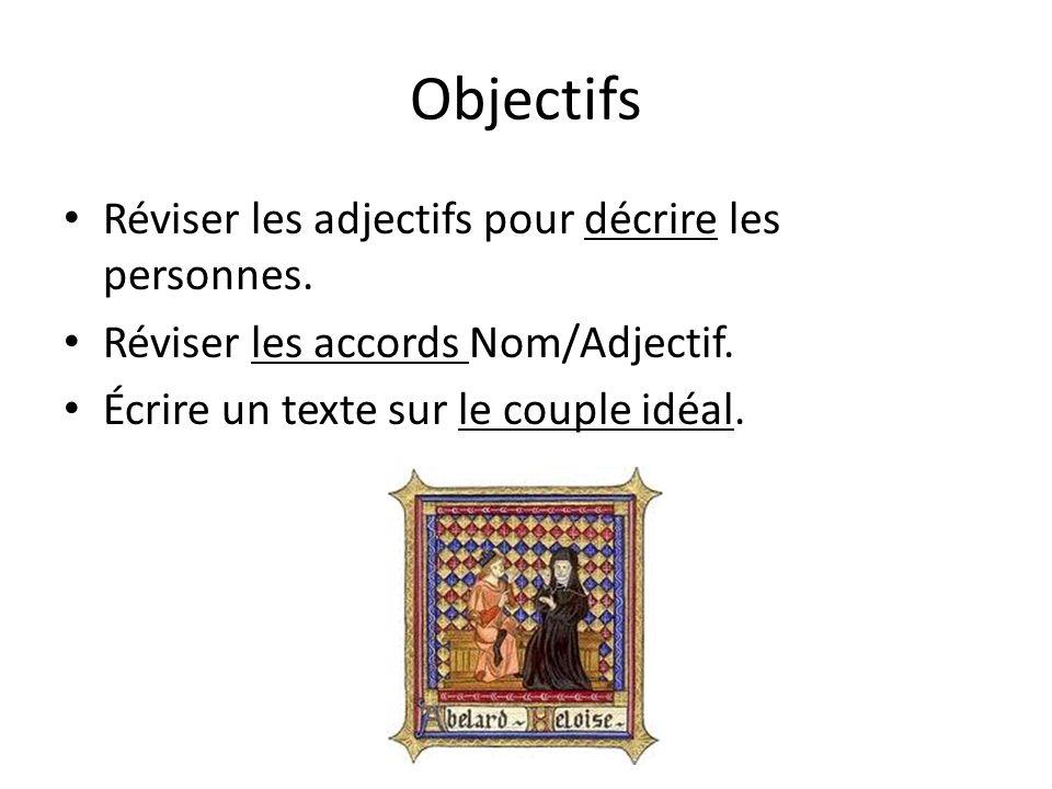 Objectifs Réviser les adjectifs pour décrire les personnes. Réviser les accords Nom/Adjectif. Écrire un texte sur le couple idéal.