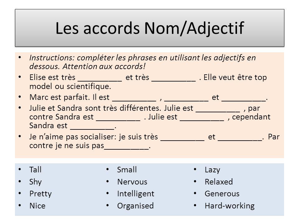 Les accords Nom/Adjectif Instructions: compléter les phrases en utilisant les adjectifs en dessous. Attention aux accords! Elise est très __________ e