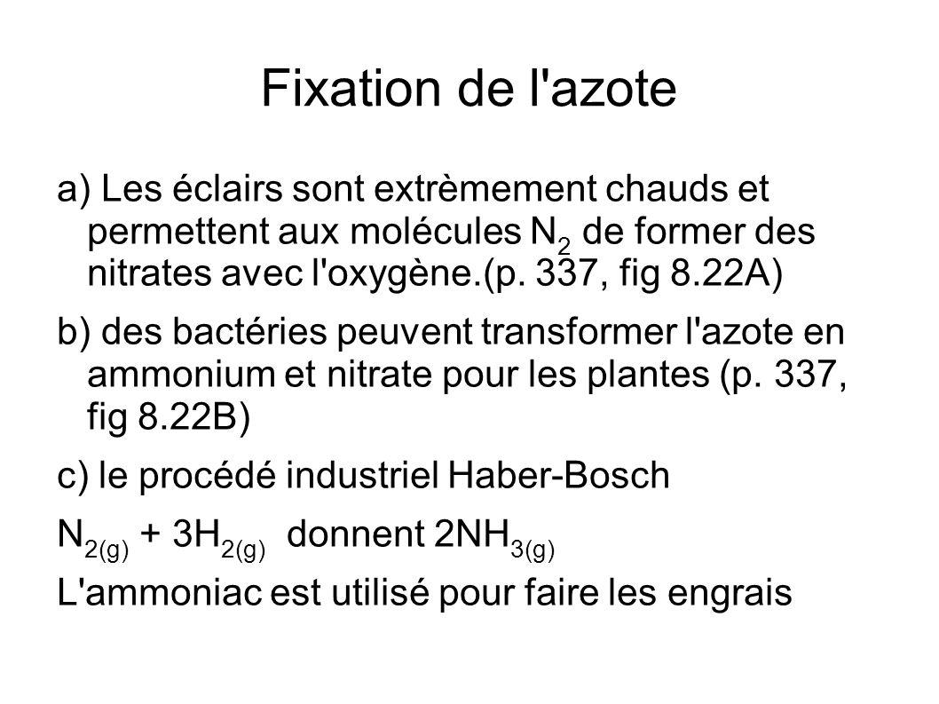 Fixation de l'azote a) Les éclairs sont extrèmement chauds et permettent aux molécules N 2 de former des nitrates avec l'oxygène.(p. 337, fig 8.22A) b