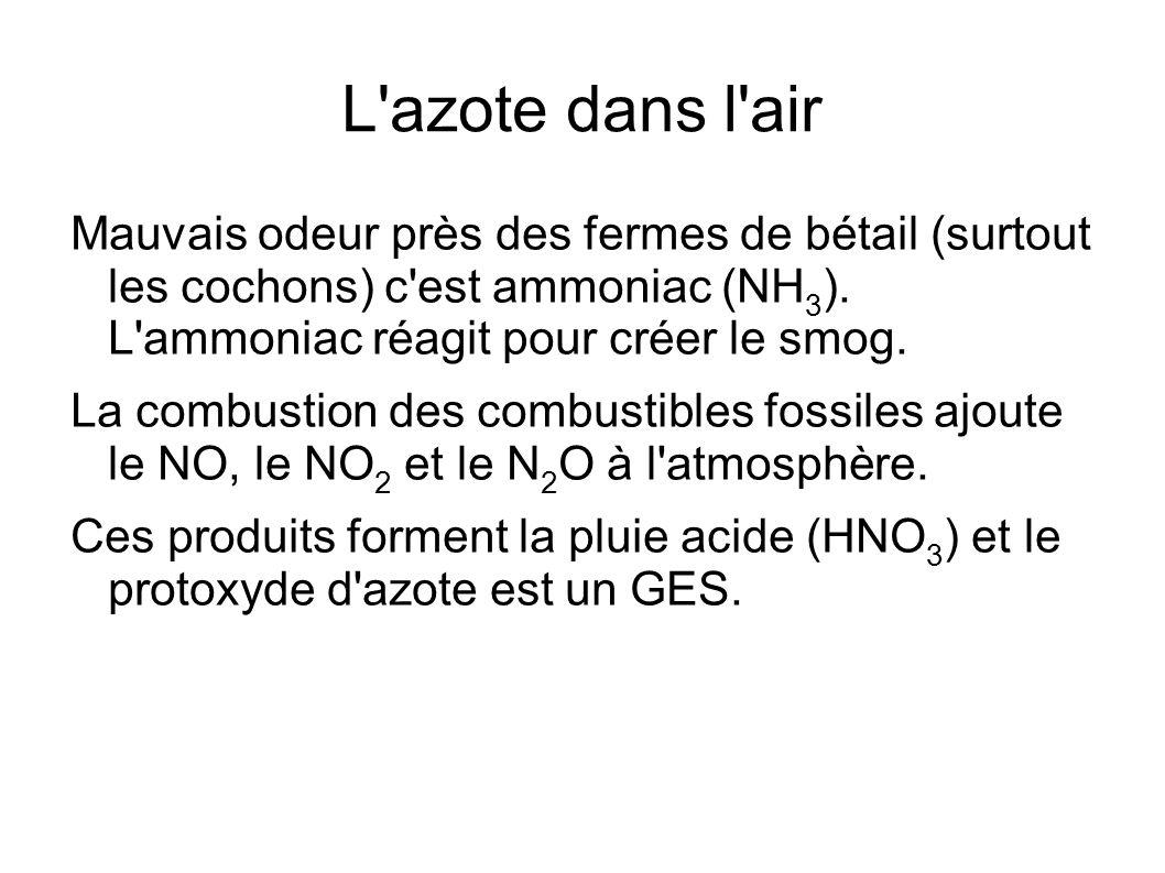 L'azote dans l'air Mauvais odeur près des fermes de bétail (surtout les cochons) c'est ammoniac (NH 3 ). L'ammoniac réagit pour créer le smog. La comb