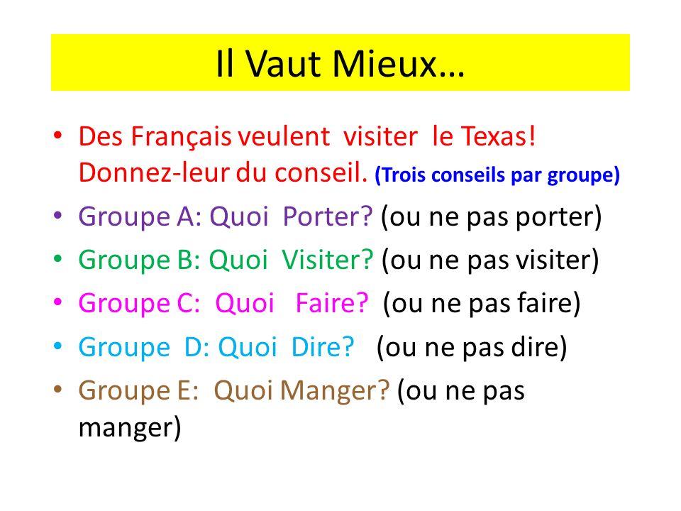 Il Vaut Mieux… Des Français veulent visiter le Texas! Donnez-leur du conseil. (Trois conseils par groupe) Groupe A: Quoi Porter? (ou ne pas porter) Gr