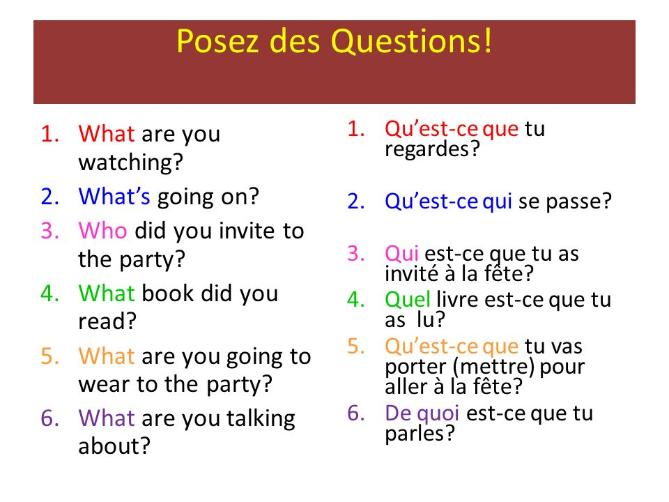 Posez des Questions! 1.What are you watching? 2.Whats going on? 3.Who did you invite to the party? 4.What book did you read? 5.What are you going to w