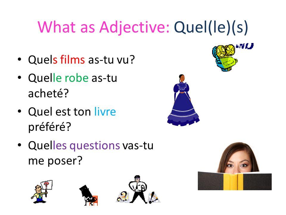 What as Adjective: Quel(le)(s) Quels films as-tu vu? Quelle robe as-tu acheté? Quel est ton livre préféré? Quelles questions vas-tu me poser?
