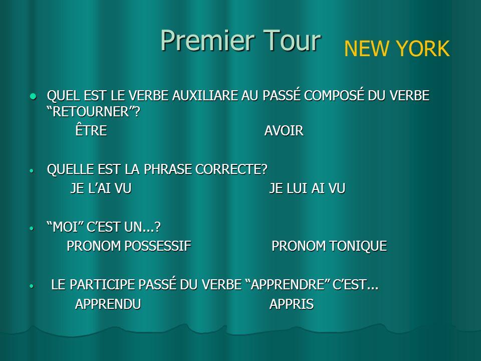 Premier Tour QUEL EST LE VERBE AUXILIARE AU PASSÉ COMPOSÉ DU VERBE RETOURNER.