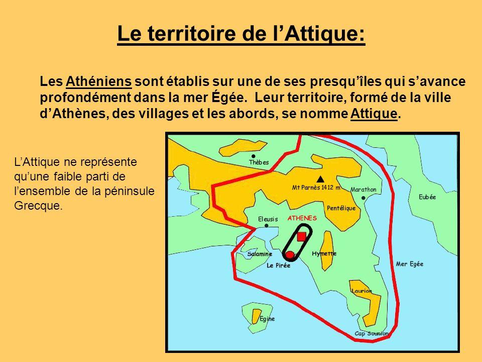 Le territoire de lAttique: Les Athéniens sont établis sur une de ses presquîles qui savance profondément dans la mer Égée. Leur territoire, formé de l