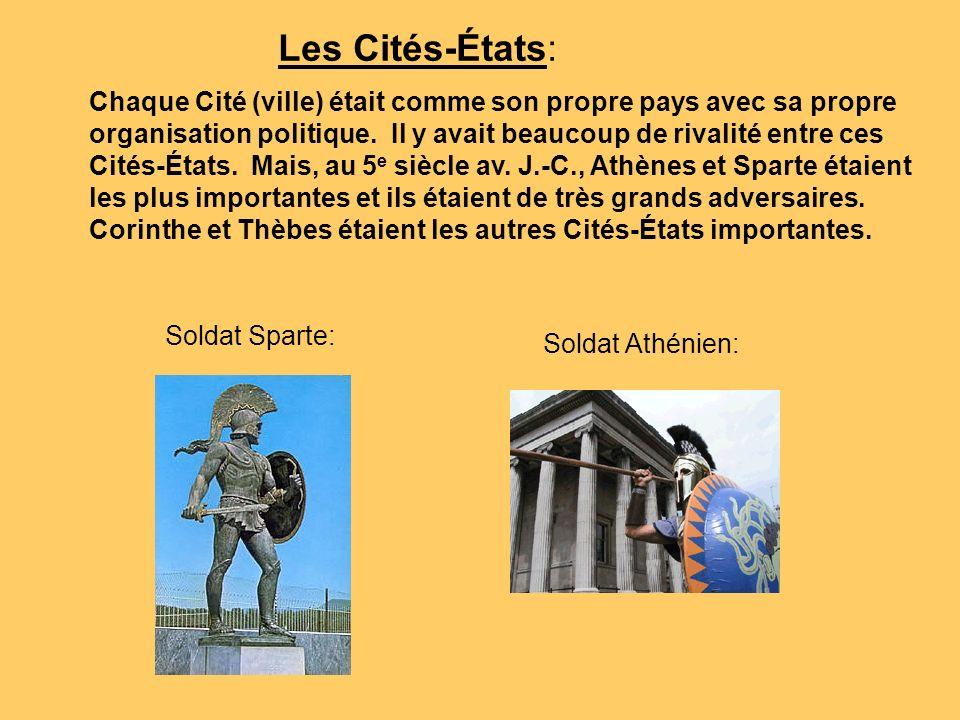 Les Cités-États: Chaque Cité (ville) était comme son propre pays avec sa propre organisation politique. Il y avait beaucoup de rivalité entre ces Cité