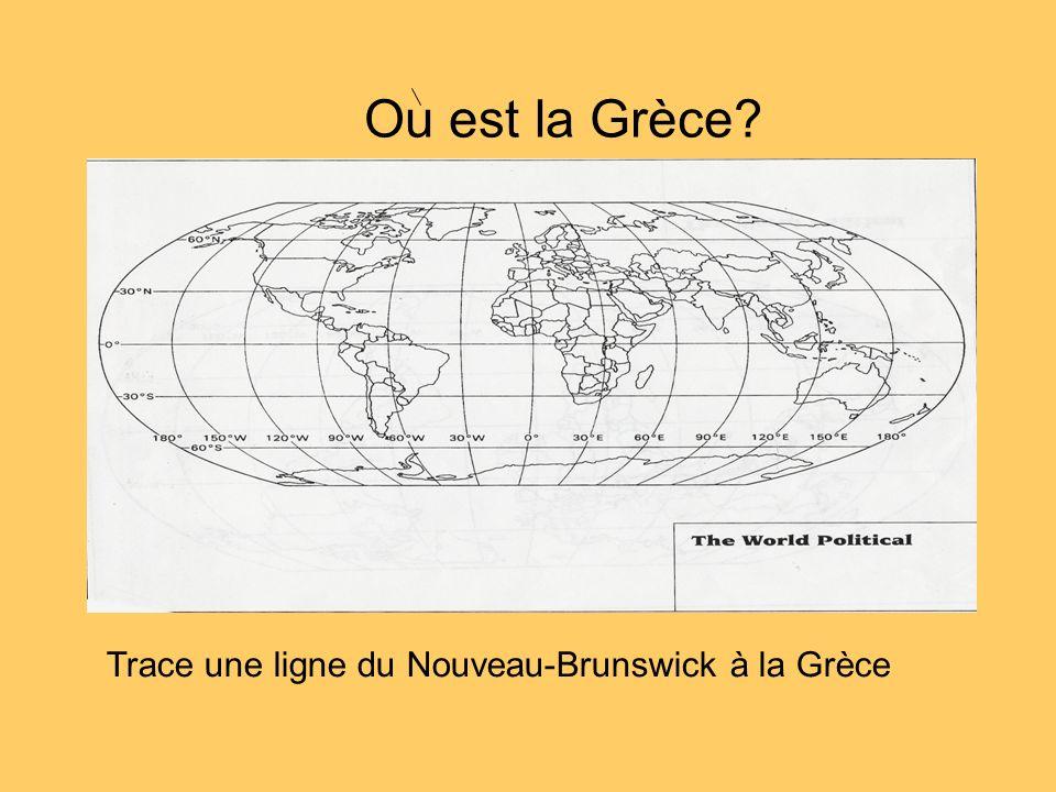Trace une ligne du Nouveau-Brunswick à la Grèce