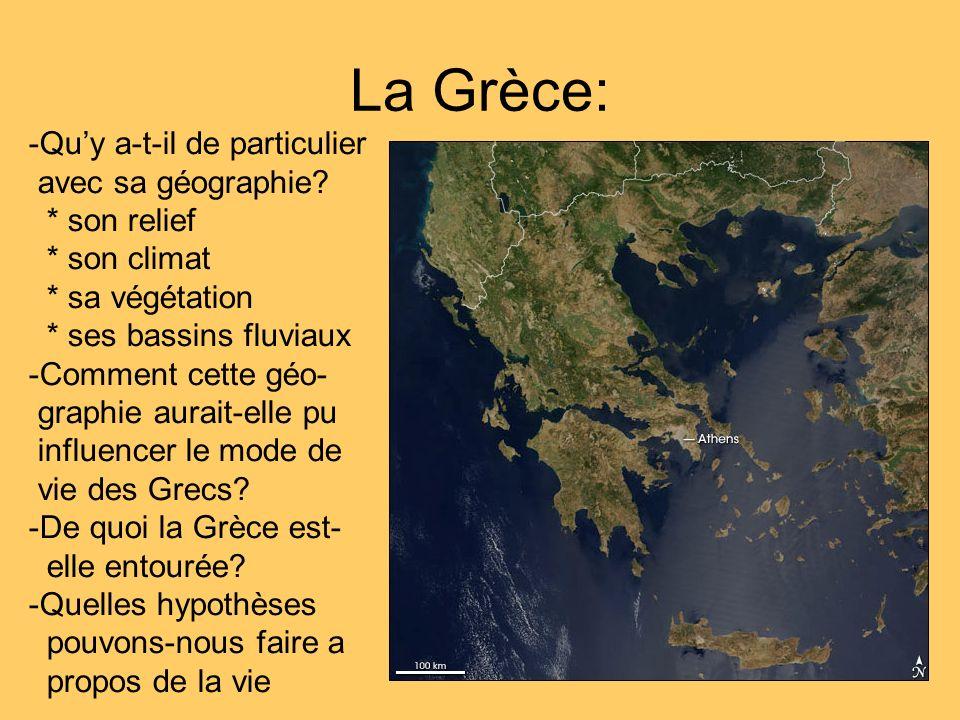 Le territoire de lAttique: Les Athéniens sont établis sur une de ses presquîles qui savance profondément dans la mer Égée.