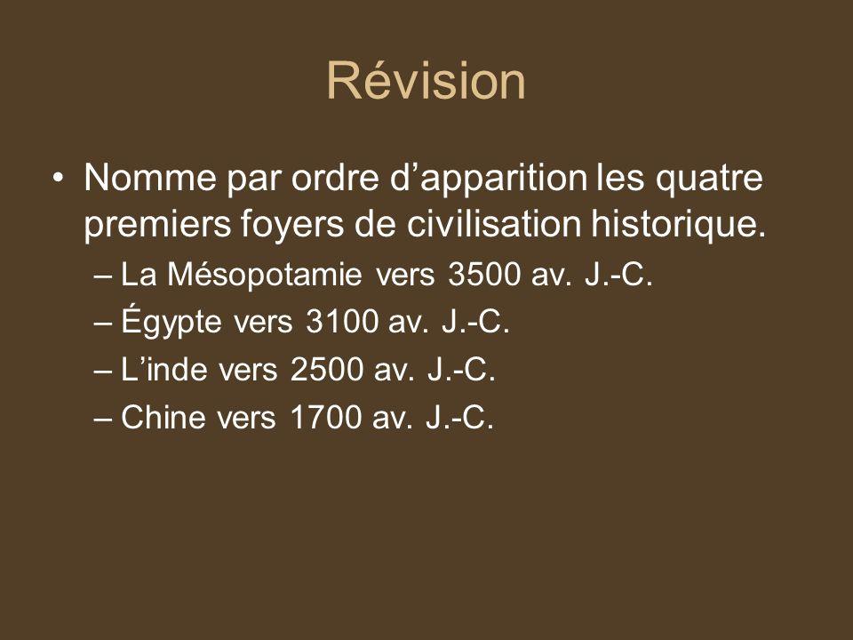 Révision Nomme par ordre dapparition les quatre premiers foyers de civilisation historique. –La Mésopotamie vers 3500 av. J.-C. –Égypte vers 3100 av.