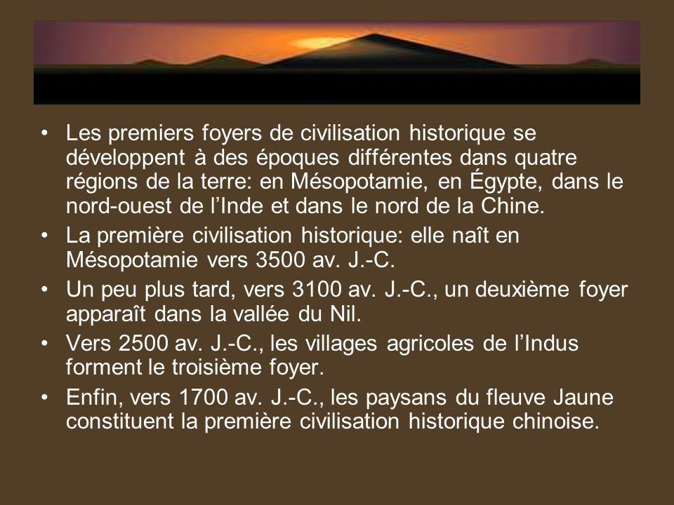 Les premiers foyers de civilisation historique se développent à des époques différentes dans quatre régions de la terre: en Mésopotamie, en Égypte, da
