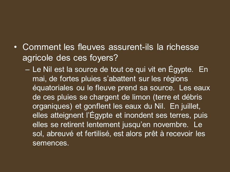 Comment les fleuves assurent-ils la richesse agricole des ces foyers? –Le Nil est la source de tout ce qui vit en Égypte. En mai, de fortes pluies sab