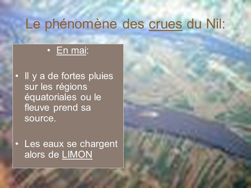 Le phénomène des crues du Nil: En mai: Il y a de fortes pluies sur les régions équatoriales ou le fleuve prend sa source. Les eaux se chargent alors d