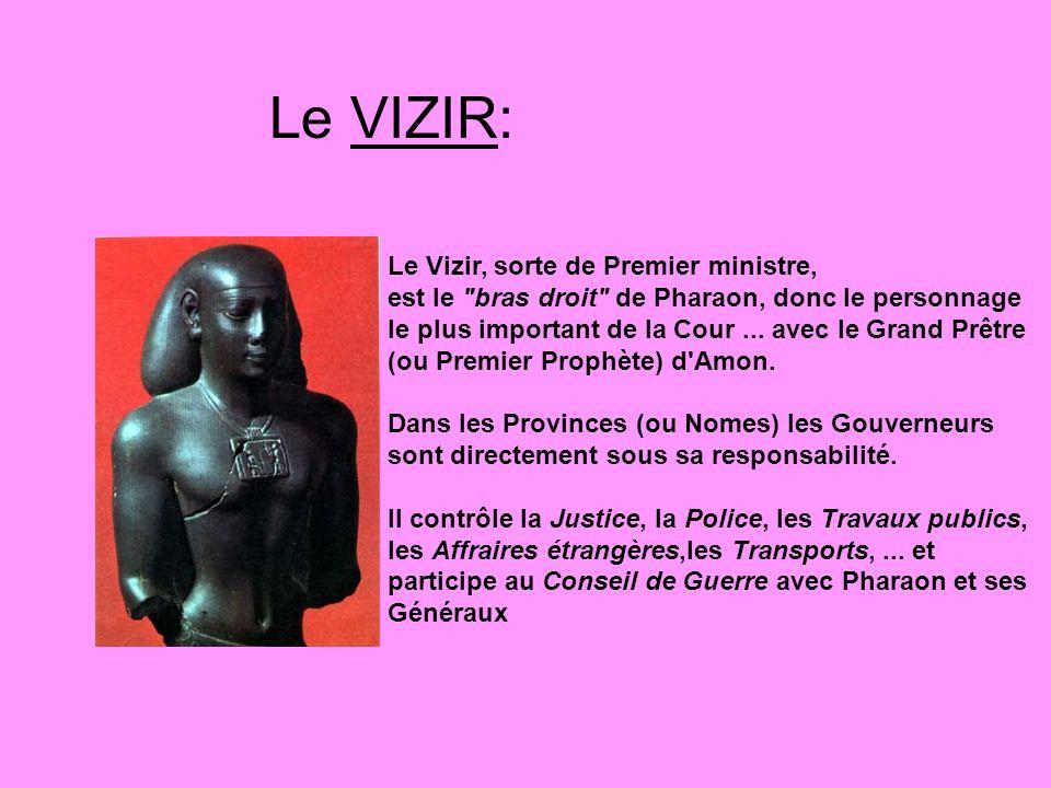 Le VIZIR: Le Vizir, sorte de Premier ministre, est le