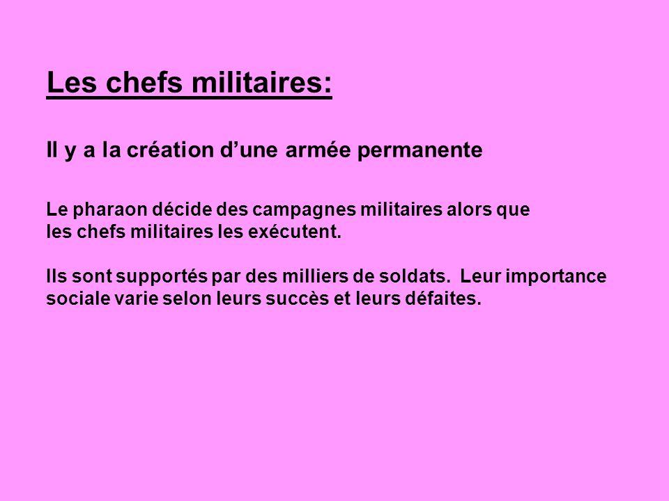 Les chefs militaires: Il y a la création dune armée permanente Le pharaon décide des campagnes militaires alors que les chefs militaires les exécutent