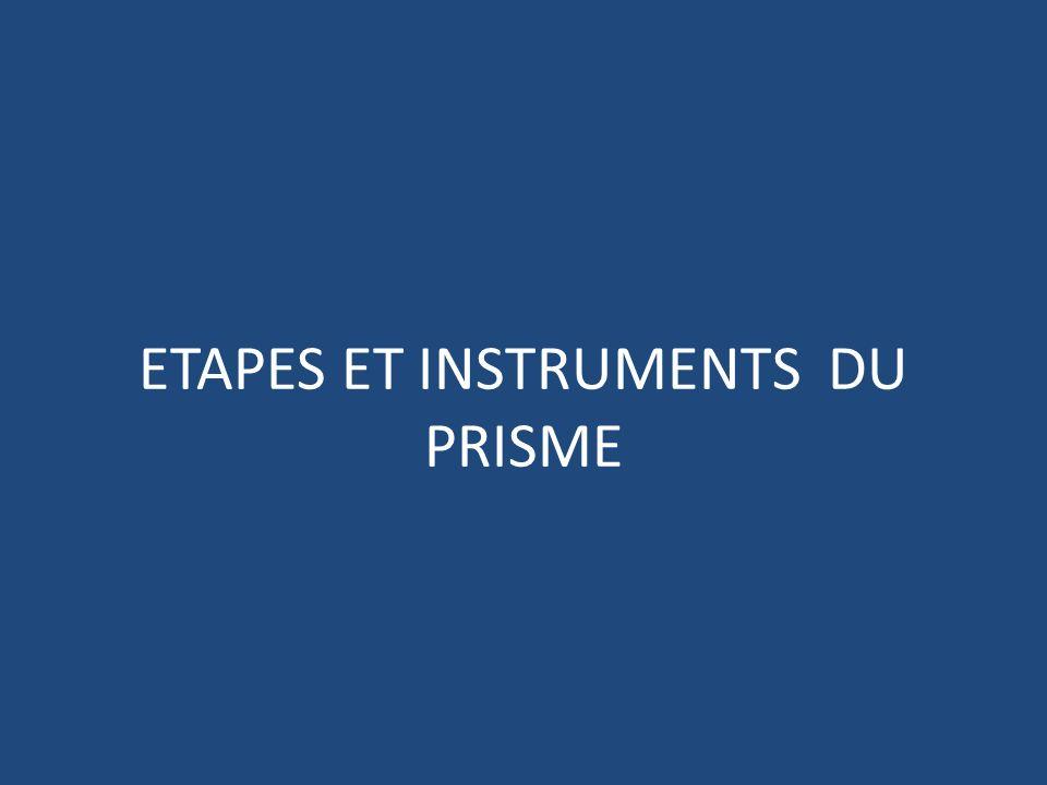 ETAPES ET INSTRUMENTS DU PRISME