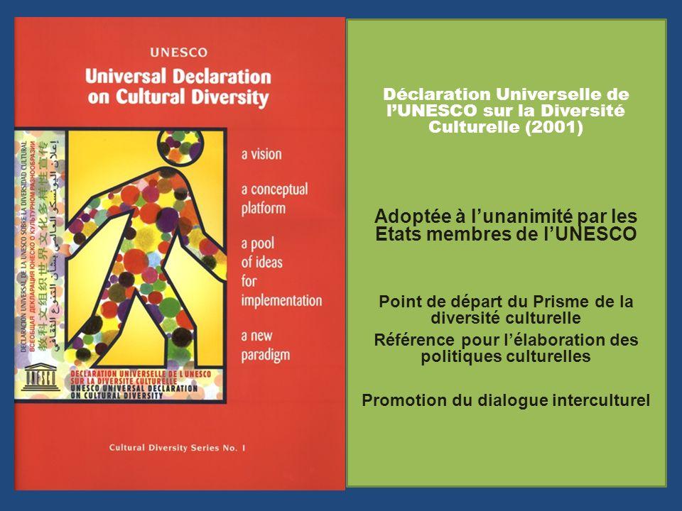 Déclaration Universelle de lUNESCO sur la Diversité Culturelle (2001) Adoptée à lunanimité par les Etats membres de lUNESCO Point de départ du Prisme