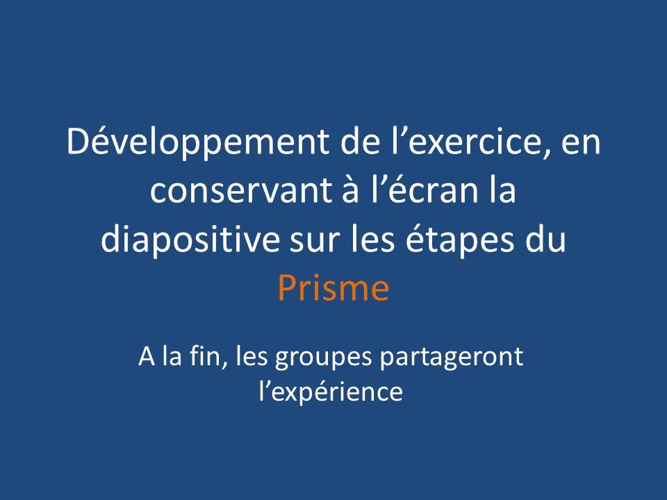 Développement de lexercice, en conservant à lécran la diapositive sur les étapes du Prisme A la fin, les groupes partageront lexpérience