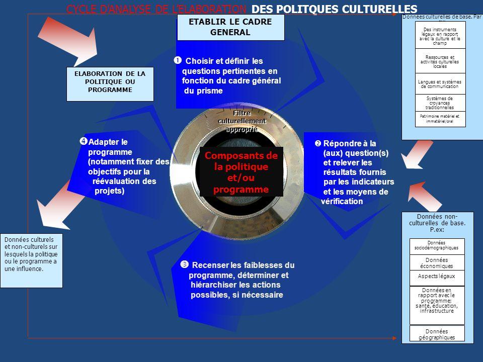 CYCLE DANALYSE DE LELABORATION DES POLITQUES CULTURELLES Adapter le programme (notamment fixer des objectifs pour la réévaluation des projets) Recense