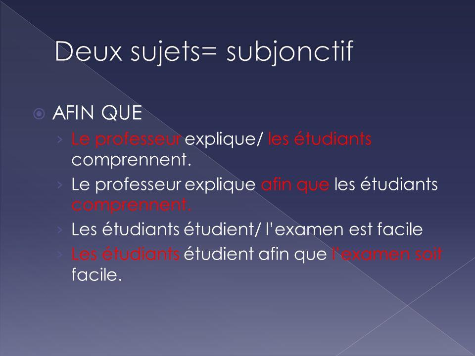 AFIN QUE Le professeur explique/ les étudiants comprennent. Le professeur explique afin que les étudiants comprennent. Les étudiants étudient/ lexamen