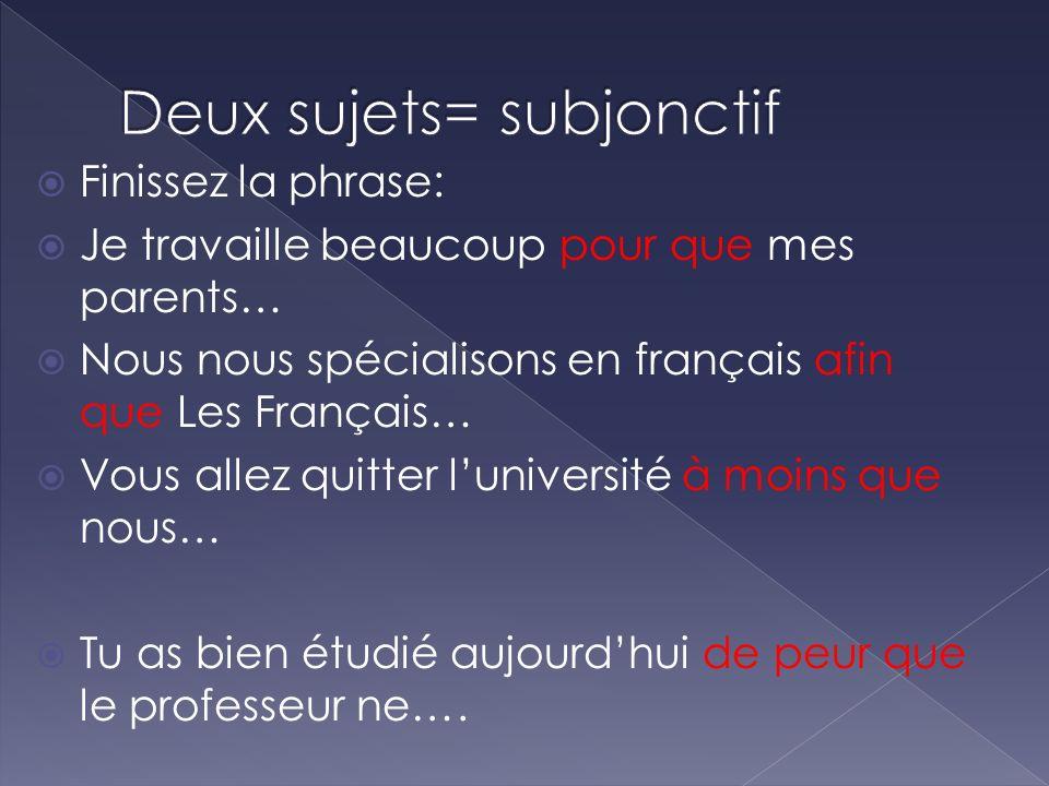Finissez la phrase: Je travaille beaucoup pour que mes parents… Nous nous spécialisons en français afin que Les Français… Vous allez quitter luniversi