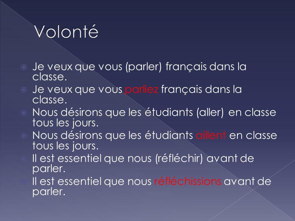 Je veux que vous (parler) français dans la classe. Je veux que vous parliez français dans la classe. Nous désirons que les étudiants (aller) en classe