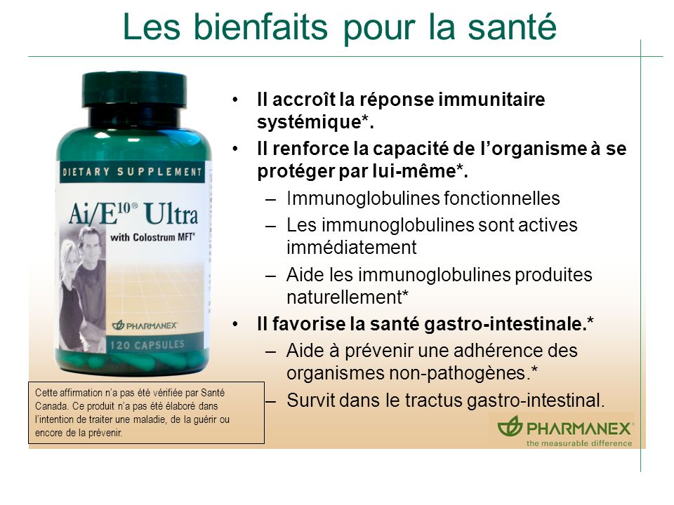 Les bienfaits pour la santé Il accroît la réponse immunitaire systémique*. Il renforce la capacité de lorganisme à se protéger par lui-même*. –Immunog