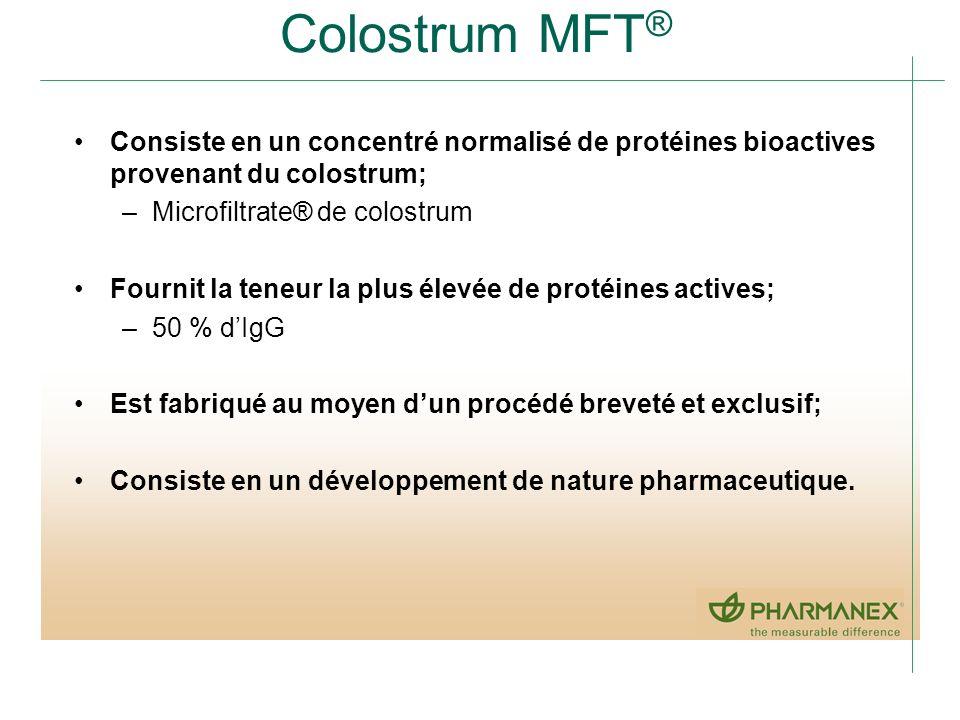 Colostrum MFT ® Consiste en un concentré normalisé de protéines bioactives provenant du colostrum; –Microfiltrate® de colostrum Fournit la teneur la p