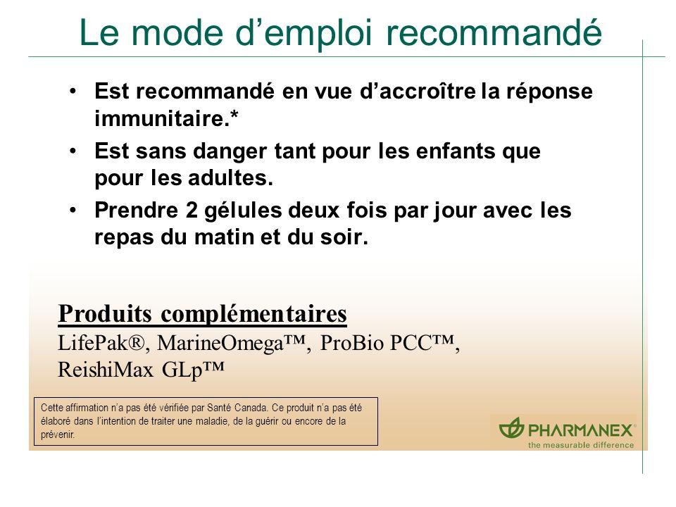 Le mode demploi recommandé Est recommandé en vue daccroître la réponse immunitaire.* Est sans danger tant pour les enfants que pour les adultes. Prend