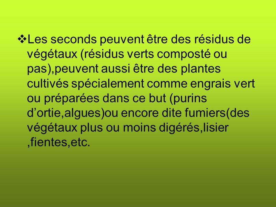 Les seconds peuvent être des résidus de végétaux (résidus verts composté ou pas),peuvent aussi être des plantes cultivés spécialement comme engrais vert ou préparées dans ce but (purins dortie,algues)ou encore dite fumiers(des végétaux plus ou moins digérés,lisier,fientes,etc.