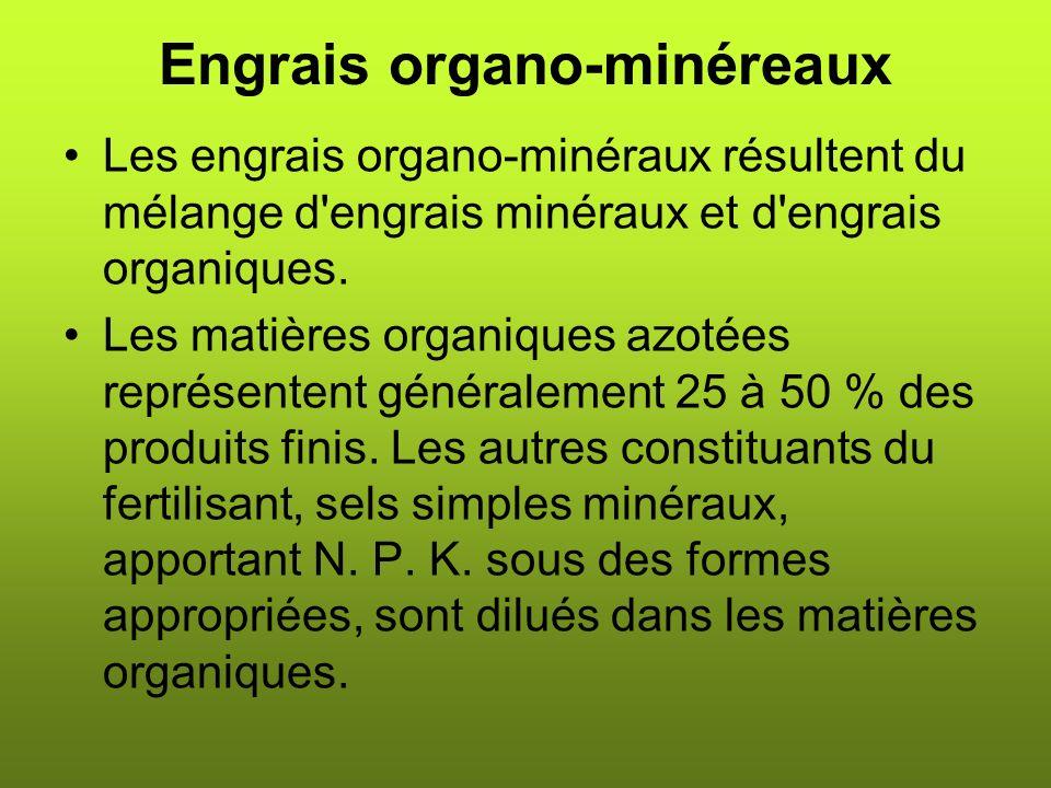 Engrais organo-minéreaux Les engrais organo-minéraux résultent du mélange d engrais minéraux et d engrais organiques.