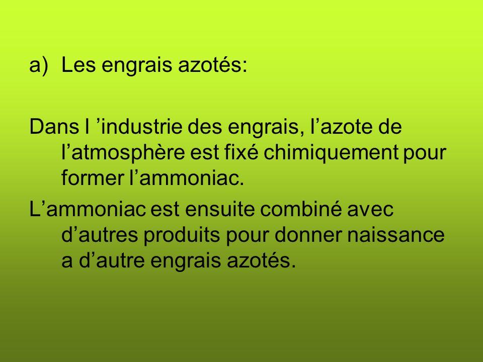 a)Les engrais azotés: Dans l industrie des engrais, lazote de latmosphère est fixé chimiquement pour former lammoniac.