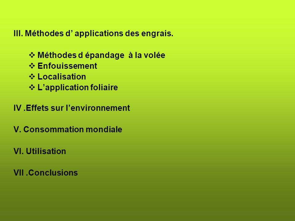 III.Méthodes d applications des engrais.