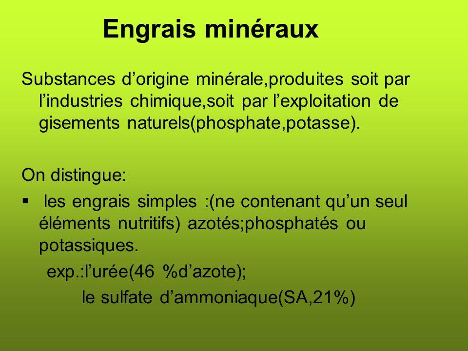 Les engrais composés:(qui peuvent contenir deux ou trois) Engrais binaires sont notés NP,PK ou NK.