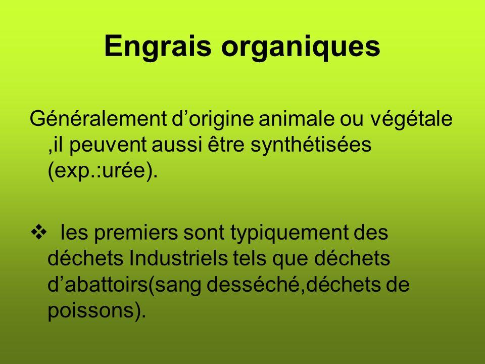 Engrais organiques Généralement dorigine animale ou végétale,il peuvent aussi être synthétisées (exp.:urée).