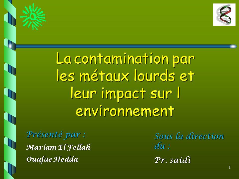 1 La contamination par les métaux lourds et leur impact sur l environnement Sous la direction du : Pr. saidi Présenté par : Mariam El Fellah Ouafae He