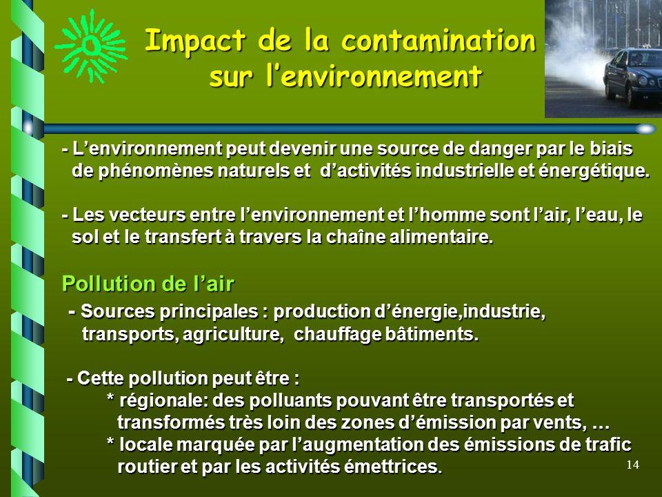 14 Impact de la contamination sur lenvironnement - Lenvironnement peut devenir une source de danger par le biais de phénomènes naturels et dactivités