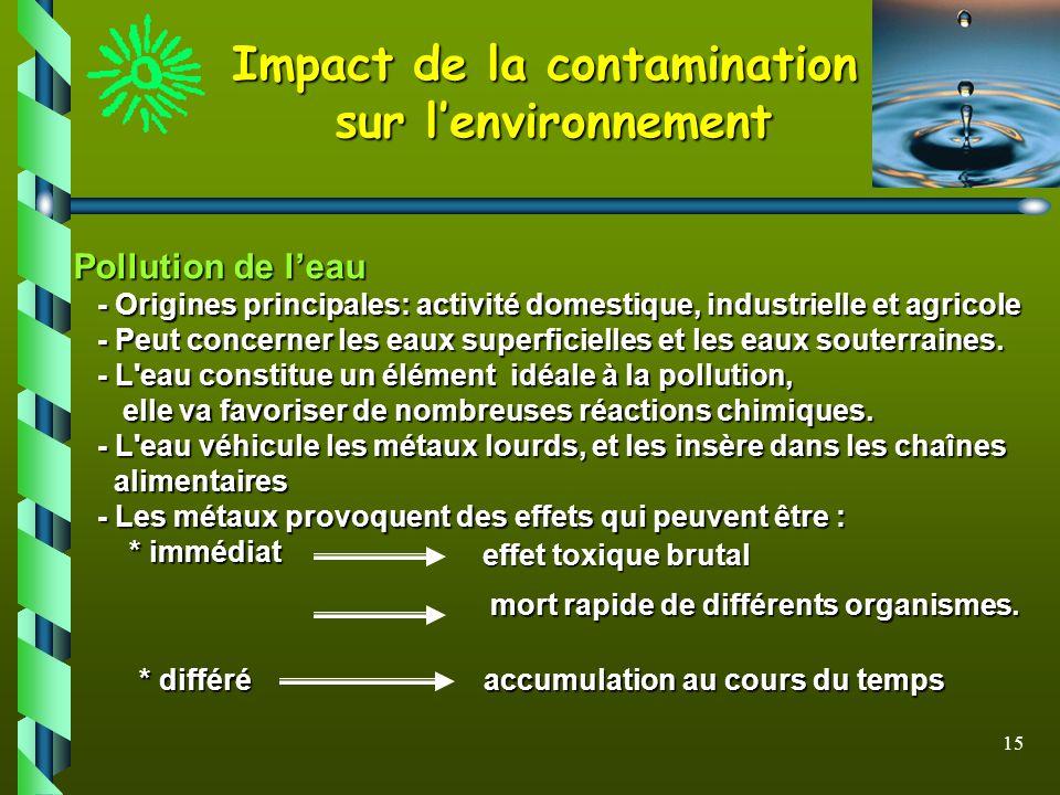 15 Impact de la contamination sur lenvironnement Pollution de leau - Origines principales: activité domestique, industrielle et agricole - Origines pr