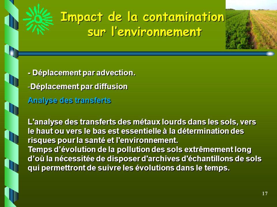 17 Impact de la contamination sur lenvironnement - Déplacement par advection. -Déplacement par diffusion Analyse des transferts Analyse des transferts