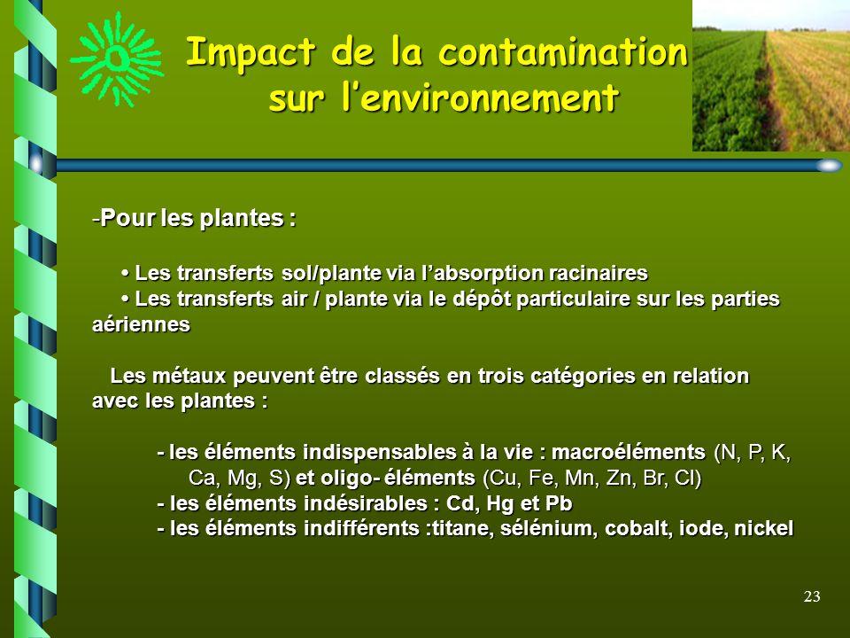 23 Impact de la contamination sur lenvironnement -Pour les plantes : Les transferts sol/plante via labsorption racinaires Les transferts sol/plante vi