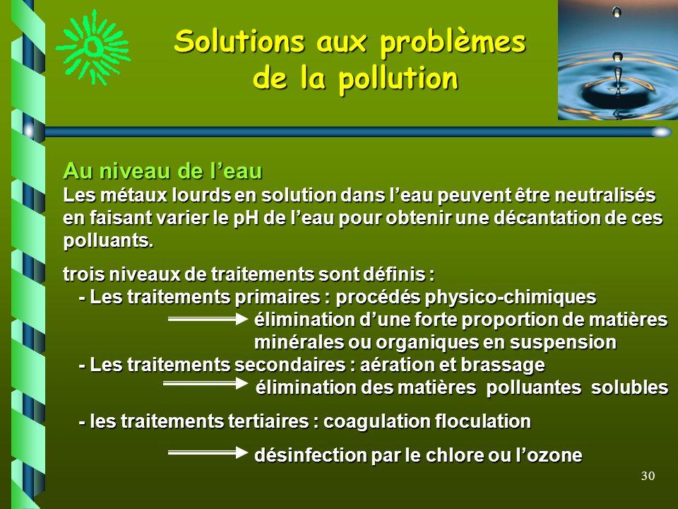30 Solutions aux problèmes de la pollution Au niveau de leau Les métaux lourds en solution dans leau peuvent être neutralisés en faisant varier le pH