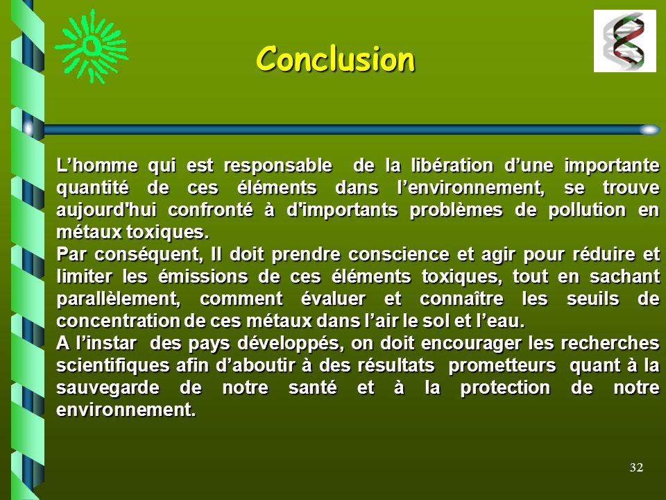 32 Conclusion Lhomme qui est responsable de la libération dune importante quantité de ces éléments dans lenvironnement, se trouve aujourd'hui confront