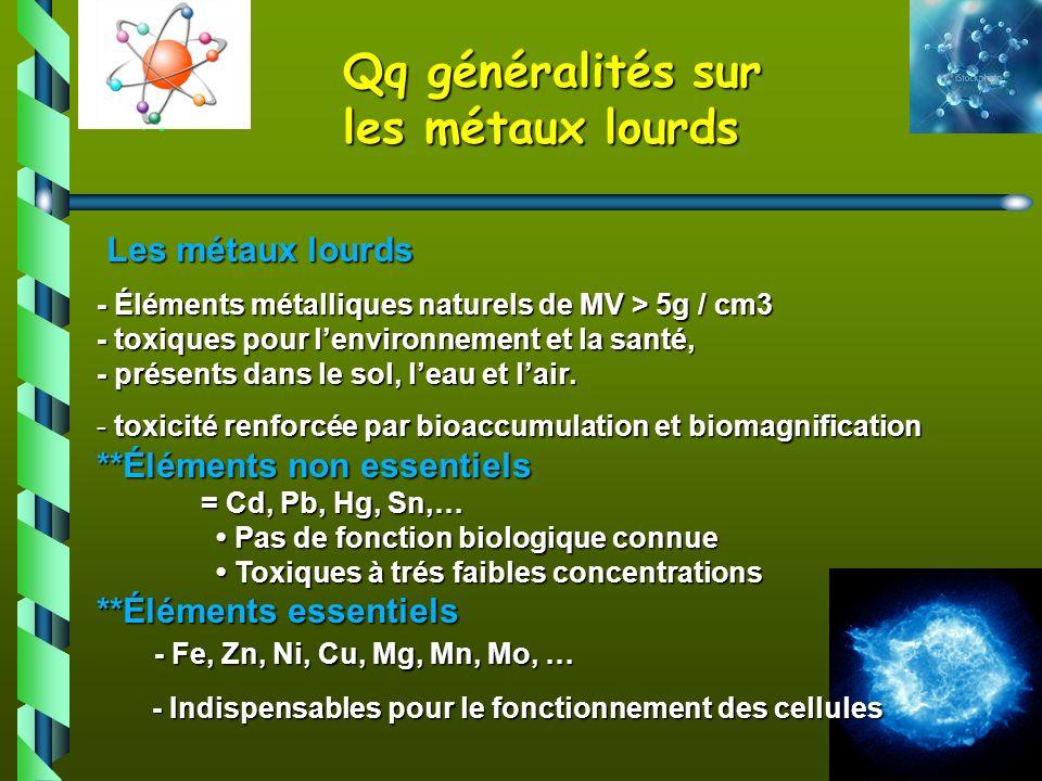 4 Les métaux lourds Les métaux lourds - Éléments métalliques naturels de MV > 5g / cm3 - toxiques pour lenvironnement et la santé, - présents dans le