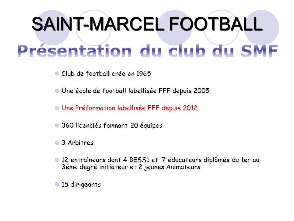 SAINT-MARCEL FOOTBALL Club de football crée en 1965 Club de football crée en 1965 Une école de football labellisée FFF depuis 2005 Une école de footba