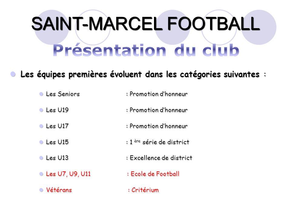 SAINT-MARCEL FOOTBALL Les équipes premières évoluent dans les catégories suivantes : Les équipes premières évoluent dans les catégories suivantes : Le