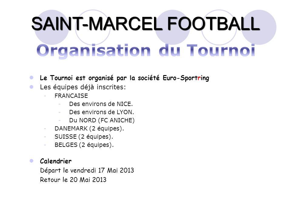 SAINT-MARCEL FOOTBALL Le Tournoi est organisé par la société Euro-Sportring Les équipes déjà inscrites: -FRANCAISE -Des environs de NICE. -Des environ