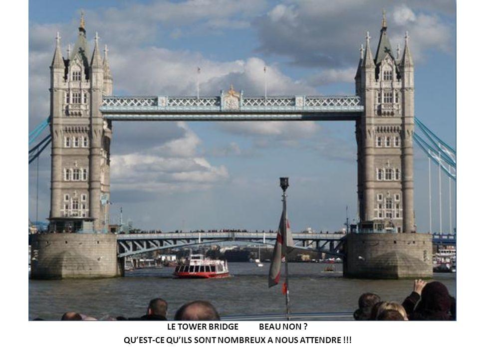 LE TOWER BRIDGE BEAU NON ? QUEST-CE QUILS SONT NOMBREUX A NOUS ATTENDRE !!!