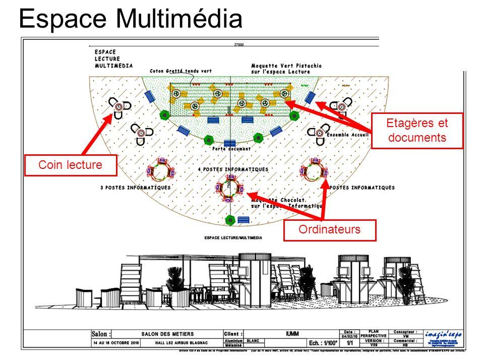 Espace Multimédia Coin lecture Ordinateurs Etagères et documents