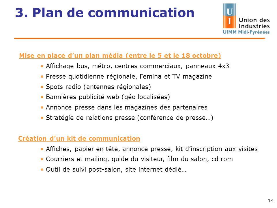3. Plan de communication 14 Mise en place dun plan média (entre le 5 et le 18 octobre) Affichage bus, métro, centres commerciaux, panneaux 4x3 Presse